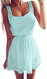 7de45fa9758 AmyDong Ladies Dress Sexy Summer Women Casual Dresses Sleeveless Cocktail  Short Mini Dress Belted Belt Strap