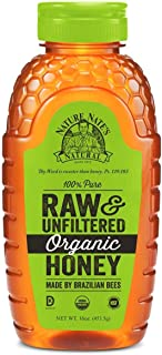 Nature Nate's USDA Certified Organic, Raw & Unfiltered Honey; 16 Ounce. Squeeze Bottle; Straight from the Hive