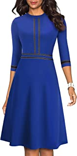 HOMEYEE Women's Chic Crew Neck 3/4 Sleeve Party Homecoming Aline Dress A139