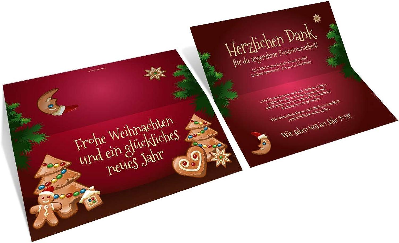 40 x Geschäftliche Weihnachtskarten Grußkarten individuell Weihnachten - Weihnachtslebkuchen B07KX1G3R6 | Umweltfreundlich