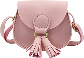 Kids Girls Toddler Mini Shoulder Purse Crossbody Bag with Tassel Coin Purse Wallet for Little Girls by PPX (Pink)