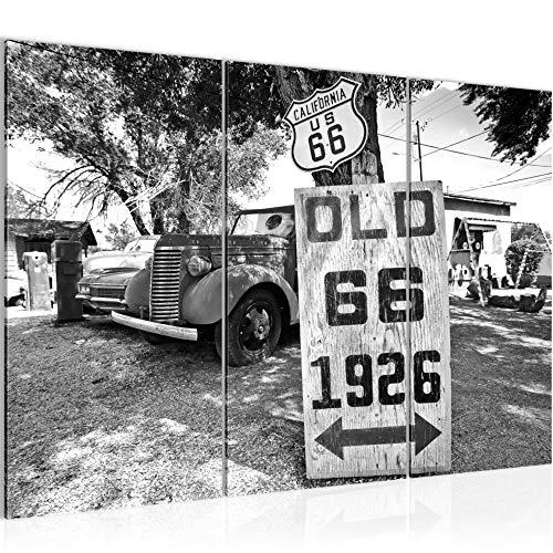 Runa Art Auto Route 66 Bild Wandbilder Wohnzimmer XXL Schwarz Weiss Vintage 120 x 80 cm 3 Teilig Wanddeko 609831c