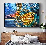 REDWPQ Astratto Hawaii Surf Wave Poster e Stampe Arte murale Quadro Decorativo Quadro su Tela per Soggiorno Decorazioni per la casa 40 * 60 cm Senza Cornice