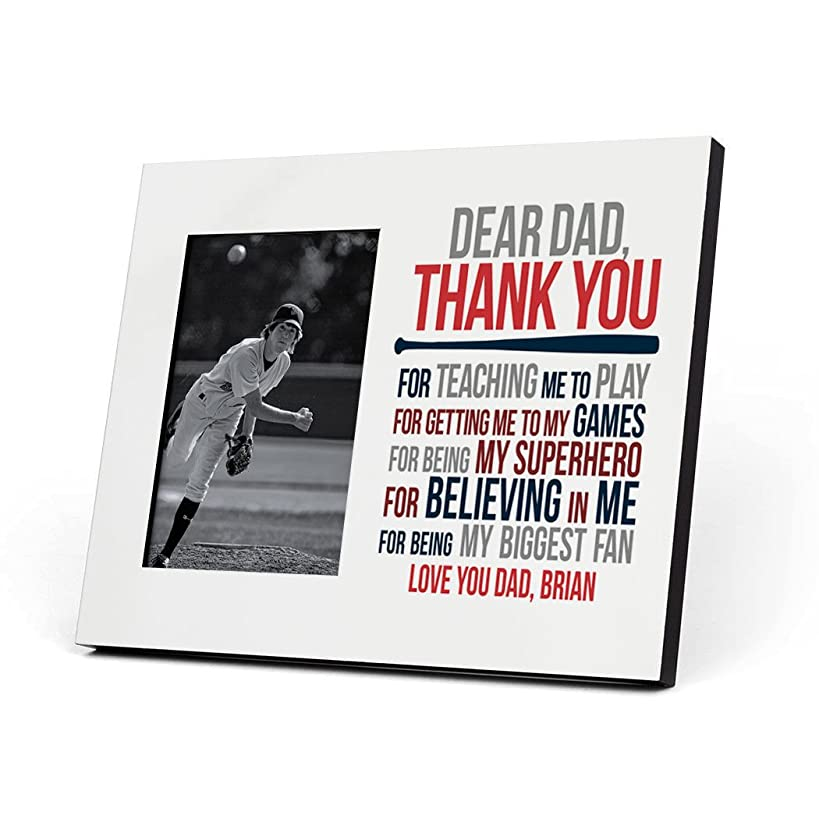 ChalkTalkSPORTS Personalized Baseball Photo Frame | Dear Dad Picture Frame | RED-Navy