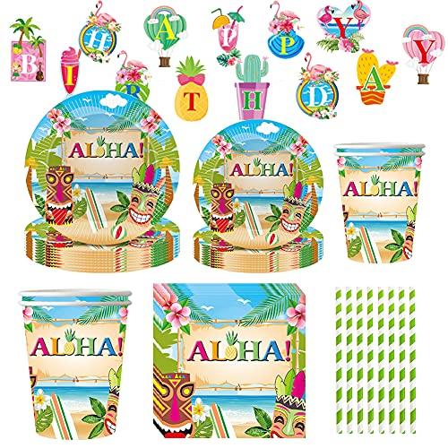 Amycute Suministros Fiesta Aloha, 20 Invitados Vajilla de Hawaiana Aloha Party, Decoracion de Fiesta Tropical, Cubiertos Cumpleaños con Platos, Vasos, Servilletas, pajas para Piscina de Verano