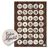 70 pegatinas pequeñas redondas de color beige y marrón, 3 cm, para decorar y embellecer recetas, libros de cocina, vasos de cocina, libros de recetas, diseño vintage