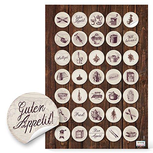 35 Stück kleine runde beige braune Sticker Aufkleber Etiketten 3 cm ESSEN UND KOCHEN zum Dekorieren und Verschönern von Rezepten Kochbüchern Küche Gläser Rezeptbüchern Nostalgie Vintage Design