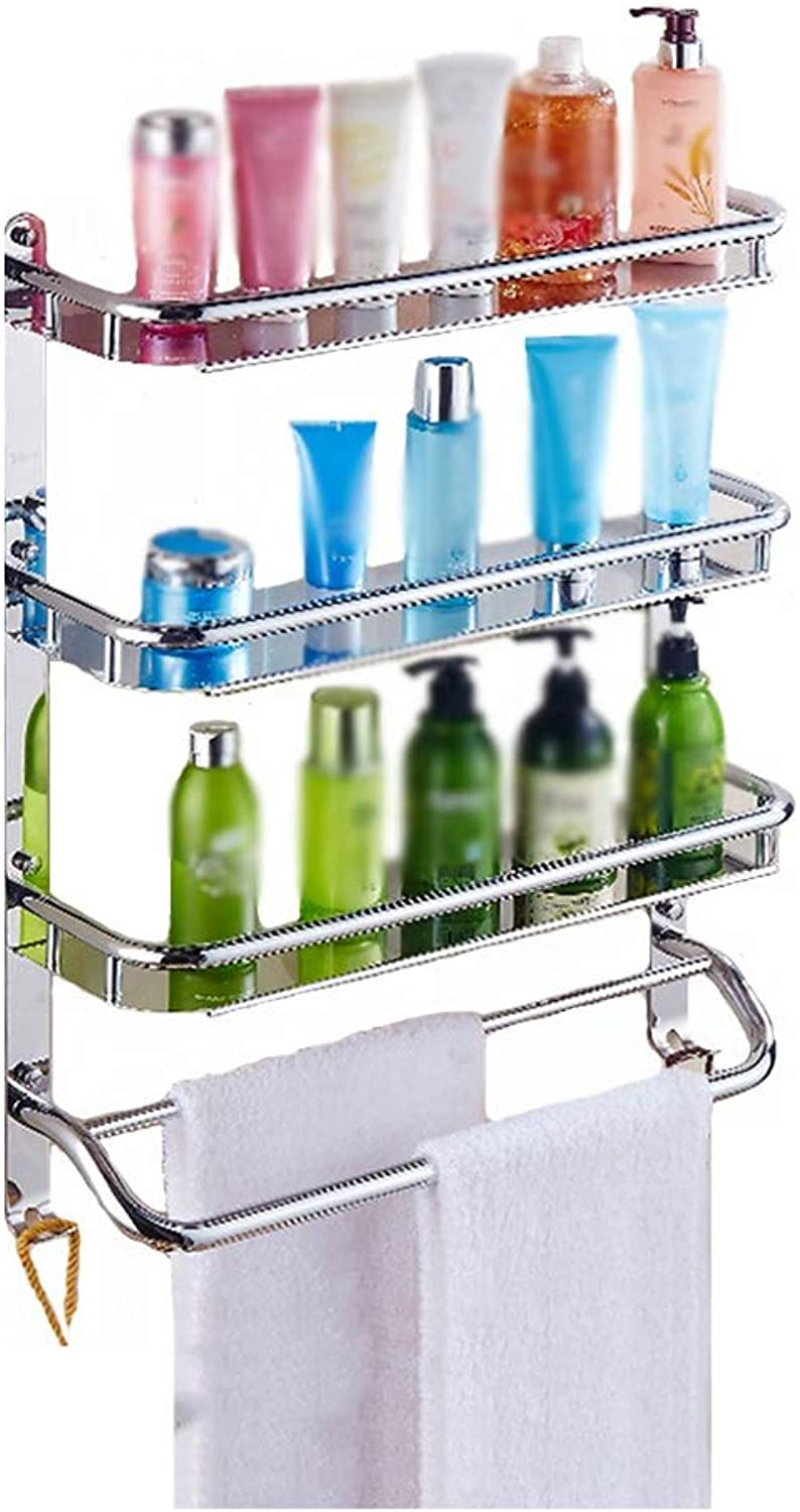 XSJJ Bathroom Shelf, 3-Layer Wall-Mounted Stainless Steel with Hook Storage Compartment Bathroom Kitchen Clapboard Bathroom Glass Shelf (Size   400mm)