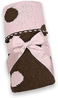 Bearington Baby Large Posh Dots Pink and Brown Knit Blanket, 30