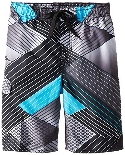 Kanu Surf Boys' Big Quick Dry UPF 50+ Beach Swim Trunk, YOLO Black, 14/16