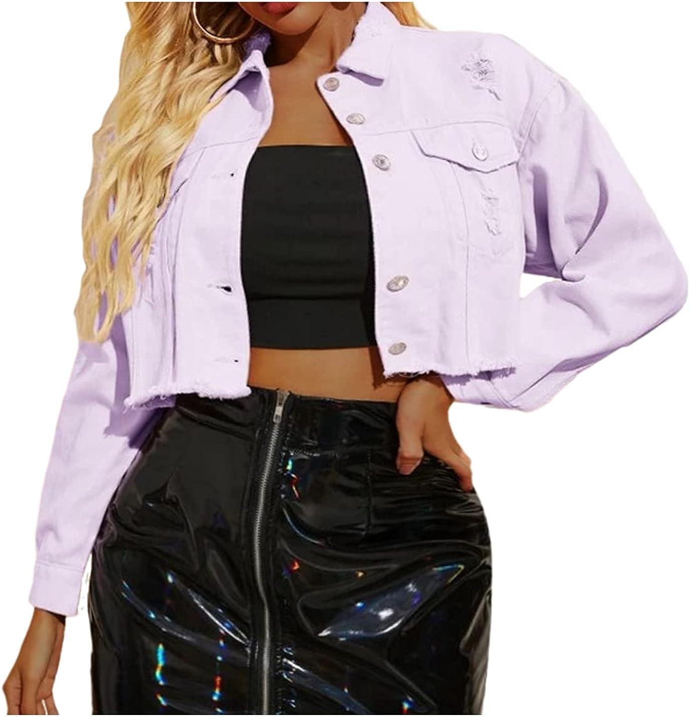 PAODIKUAI Women's Classic Denim Jean Jacket Loose Jean Trucker Jacket