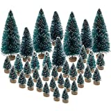 BLEBRDME 36PCS Mini Artificial Christmas Trees Plastic Sisal Trees Bottle Brush Trees Snow Frost Ornaments with Wood Base for Christmas Home Party Table Top Decor Winter Crafts