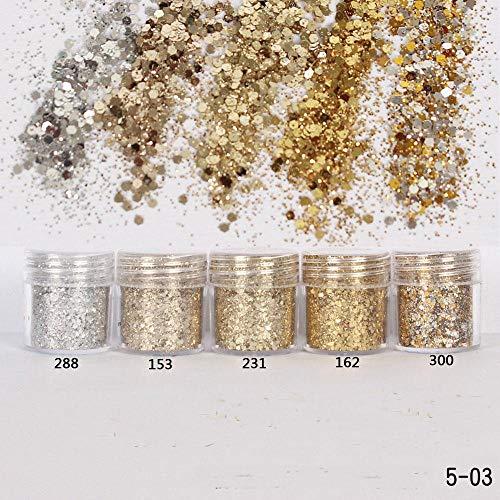 Ultradunne Sequin 1Box 10ml Champagne Zilver Goud Gemengde Glitter Poeder Pailletten Poeder Gel Nail Art Decoratie DIY Ambachtelijke Benodigdheden, 153 doos