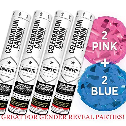 Baby Gender Reveal Confetti Launcher Cannon 4Pack  Biodegradable Confetti 2 Pink and 2 Blue