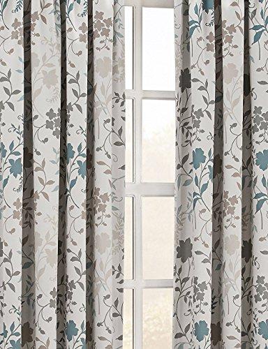 "Sun Zero Kara Floral Print Energy Efficient Rod Pocket Curtain Panel, 54"" x 63"", Stone"