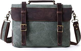 Laptop Messenger Bags, Men's Shoulder Bag, 15 Inches Vintage Canvas Bag for School and Work,Green,39 * 7.5 * 28cm
