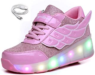 Unisex Wheel Shoes Kids Light up Roller Skate Shoes Girls USB Charge Roller Shoes Boys Flashing Sneakers for Gift