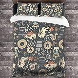 Juego de sábanas de 3 piezas de 218 x 177 cm, diseño de animales Kingdom cálido con 2 fundas de almohada cuadradas brillantes para habitación de invitados de los niños.