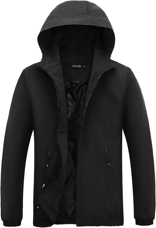 INVACHI Men's Pullover Hooded Windbreaker Half Zip Waterproof Rain Jacket Lightweight