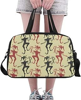 Overnight Bag Dancing Joker Poker Character Weekend Travel Bag for Unisex Fitness Duffel