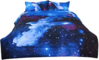 uxcell Full/Queen 3-Piece Galaxies Dark Blue Comforter Sets - 3D Space Themed - All-Season Down Alternative Quilted Duvet - Reversible Design - Includes 1 Comforter, 2 Pillow Shams