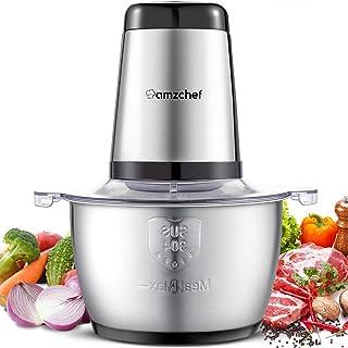 comprar comparacion Amzchef Picadora eléctrica de alimentos con motor fuerte, tazón de acero inoxidable de grado alimentario de 1.8 litros, 2 ...