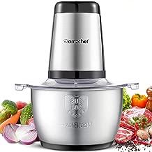 Amzchef Picadora eléctrica de alimentos con motor fuerte, tazón de acero inoxidable de grado alimentario de 1.8 litros, 2 niveles de velocidad |300W Picadora de Carne para Verduras,Carne,Especias