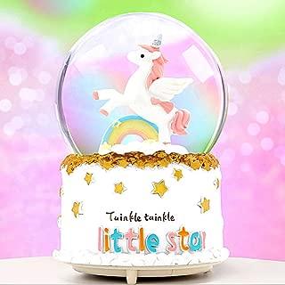 VECU Unicorn Snow Globe, Snow Cartoon Rainbow Music Box Home Decoration for Girls Kids Granddaughters Babies Birthday Gift, Musical, Resin/Glass (3.54 x 4.72 Inch)