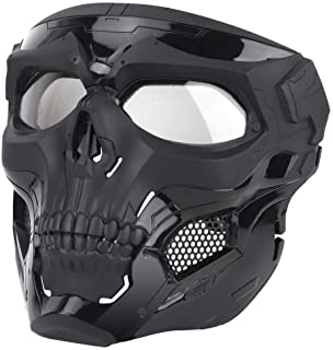 Anyoupin Airsoft Mask,Full Face Masks Skull Skeleton with Goggles Impact Resistant Army Fans Supplies Tactical Mask for Ha...