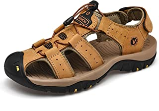 LiliChan Men's Walking Outdoor Summer Sandals Leather Breathable Non-Slip Hiking Sandals Protective Toecap Closed Toe Fish...