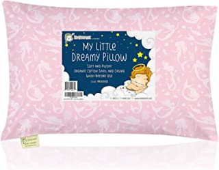 Toddler Pillow with Pillowcase - 13X18 Soft Organic Cotton Baby Pillows for Sleeping - Machine Washable - Toddlers, Kids, ...