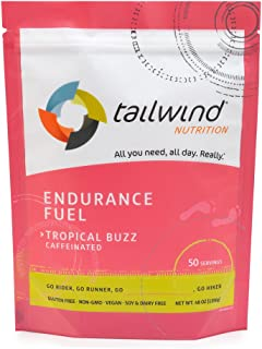 Tailwind Nutrition Caffeinated Tropical Buzz Endurance Fuel 50 Serving - Hydration Drink Mix with Electrolytes, Carbohydrates - Non-GMO, Gluten-Free, Vegan, No Soy or Dairy