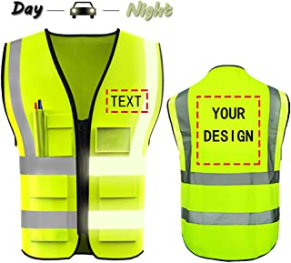 High Visibility Safety Vest Custom Your Logo Protective Workwear 5 Pockets With Reflective Strips Outdoor Work Vest (Neon Yellow XL)