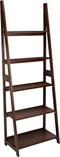 AmazonBasics Modern 5-Tier Ladder Bookshelf Organizer with Solid Rubber Wood Frame, Walnut