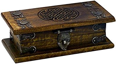 StealStreet SS-IA-WB403 5 Inch Hand Carved Wooden Om Trinket Box