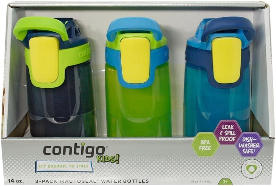 Contigo Kids Autoseal Gizmo Water Bottles, 14oz (Nautical/School boy/Granny Smith)
