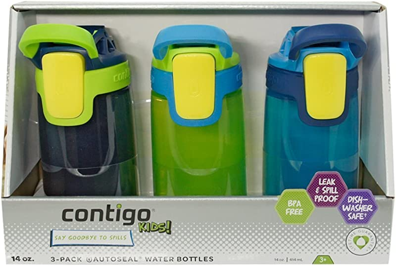 Contigo Kids Autoseal Gizmo Water Bottles 14oz Nautical School Boy Granny Smith