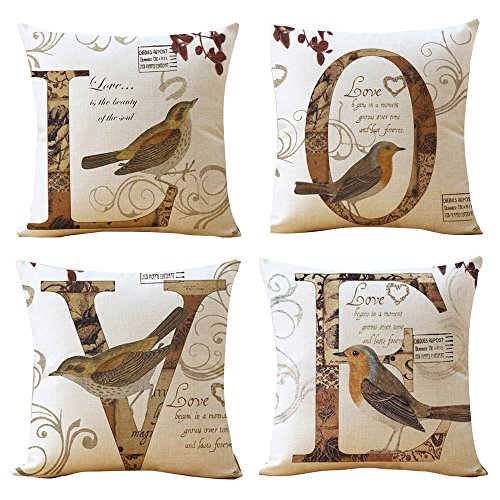 Decorative Love Quotes Throw Pillow Cover Set with Birds