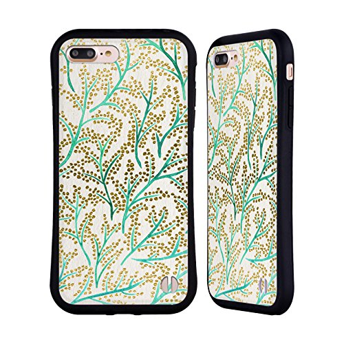 Head Case Designs Oficial Cat Coquillette Ramas de Oro Verde Patrones 3 Carcasa híbrida Compatible con Apple iPhone 7 Plus/iPhone 8 Plus