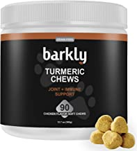Barkly Turmeric for Dogs - Safe Hip and Joint Supplement - All Natural Dog Joint Support Chews - Coconut Oil - Improves Mobility Digestion Immune System - Arthritis Pain Relief - 90 Soft Chew Treats