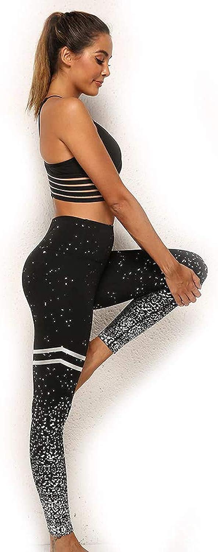 LINGHANG Womens Fashion Metalic Leggings Glitter Yoga Pants Sparkly Sports Running Tights
