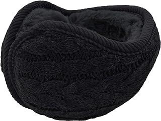 UPhitnis Winter Knit Earmuffs for Men Women - Foldable Ear Warmers - Warm Adjustable Wrap Ear Muffs (Beige Black Gray)