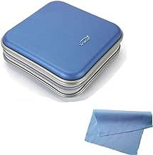 Q4Tech Hard CD DVD Storage Holder Case for 40 Discs. Durable Travel Organizer. (Blue)