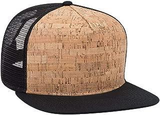 Adjustable Blank Cork Flat Visor SNAP 5 Panel Mesh Back Trucker Snapback Hat (One Size Fits Most)