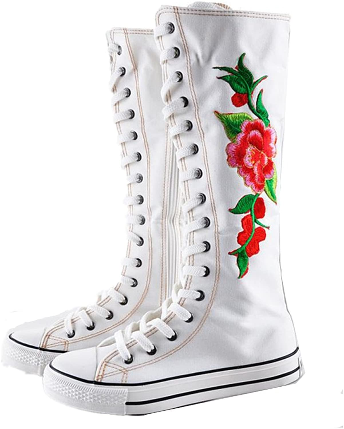 Xiaoyang Floral Embroidered Women's Dance Sneakers Punk Knee High Lace Ups Canvas Boots