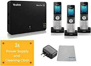 Global Teck Bundle of Yealink W56P IP Cordless Phones Office Bundle-DECT Handset and Base Unit, Power Supply and Microfiber Cloth | Requires VoIP Service (Yealink W56P Base and 3 handsets)