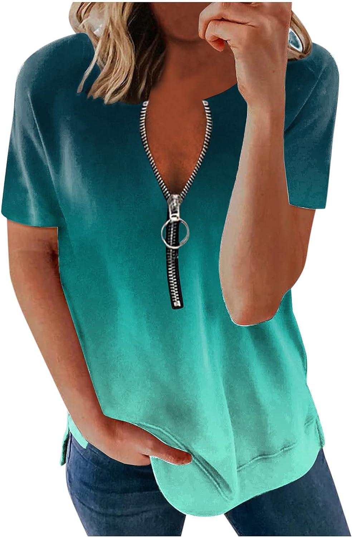 Kaitobe Shirts for Women, Womens Summer Tops Zipper V Neck Print T-Shirts Casual Short Sleeve Bouse Tops Tunics Tee Top