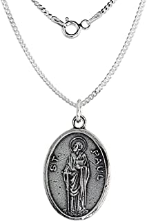 Sterling Silver St Paul Medal Necklace Oval 1.8mm Chain