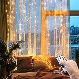 Luz de cortina impermeable de 300 LED, 3 mx 3 m, luces de cadena de Navidad de color blanco cálido con 8 modos de control remoto, bodas, decoración de fiestas, dormitorio (Blanco cálido)