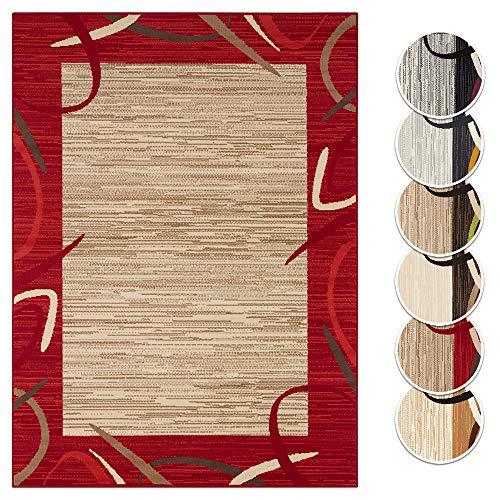 Tapeso Vloerkleed Retro Lijstmotief - Okergeel & Grijs, 160x220 cm | Modern voorjaars Tapijt
